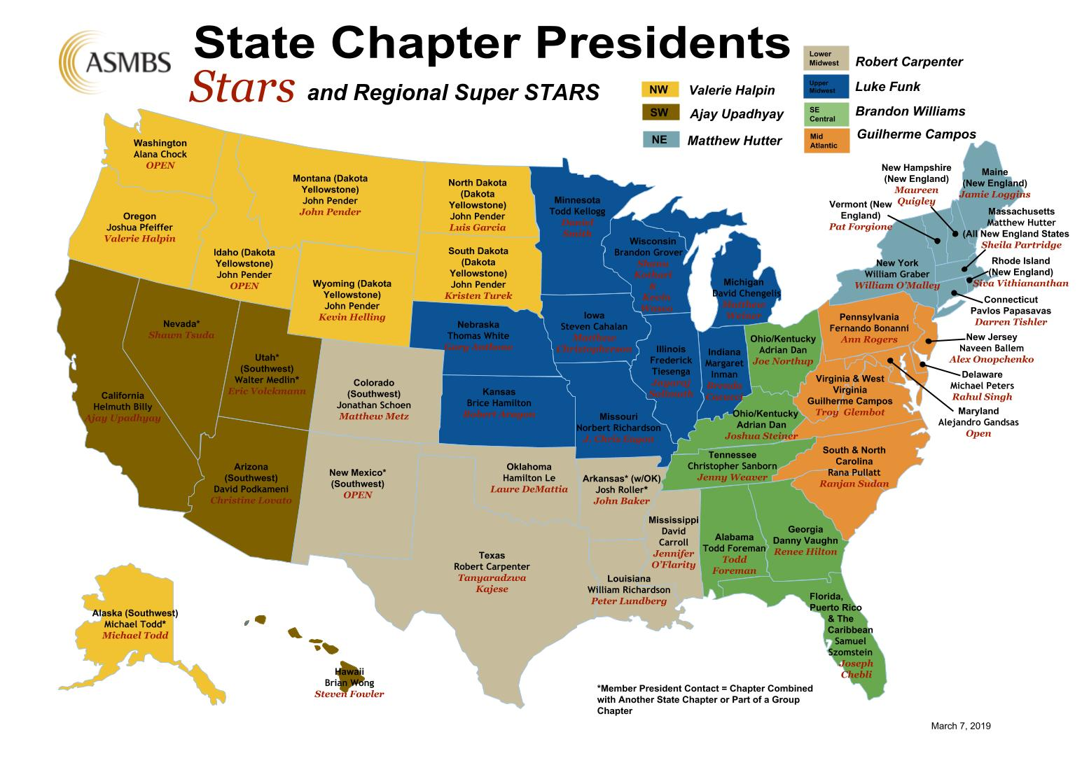 ASMBS State Chapter Status Map